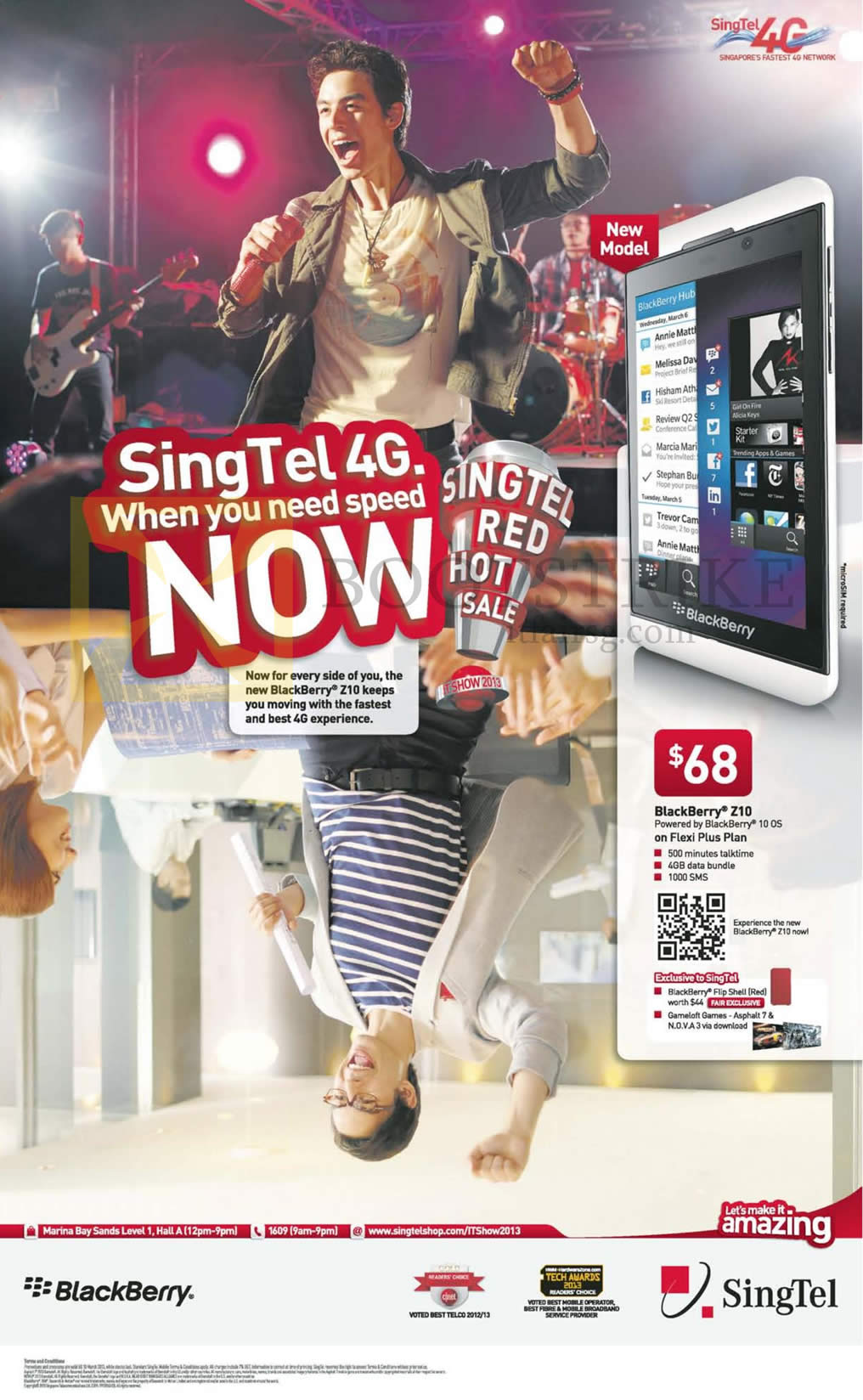 IT SHOW 2013 price list image brochure of Singtel Mobile Phones Blackberry Z10