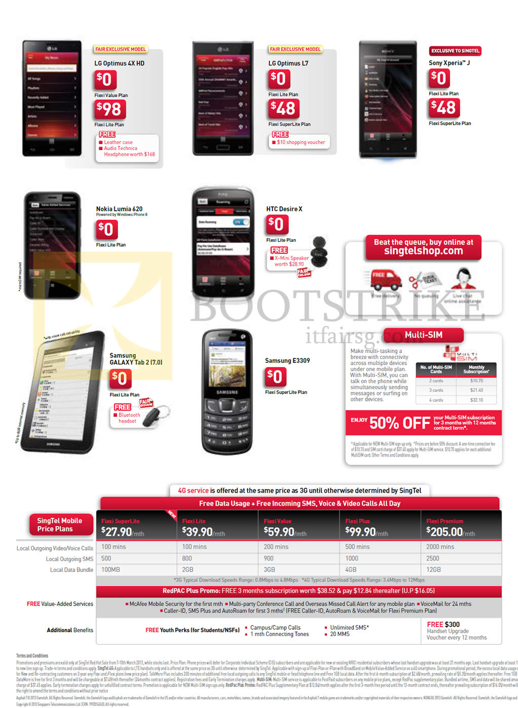 IT SHOW 2013 price list image brochure of Singtel Mobile Phones LG Optimus 4X HD, L7, Sony Xperia J, Nokia Lumia 620, HTC Desire X, Samsung E3309, Galaxy Tab 7.0