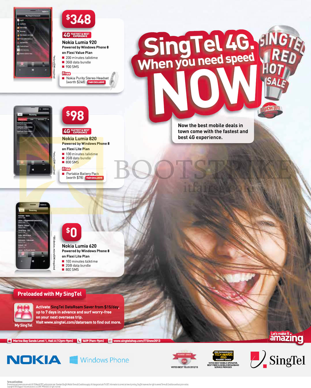 IT SHOW 2013 price list image brochure of Singtel Mobile Phones Nokia Lumia 920, Nokia Lumia 820, Nokia Lumia 620