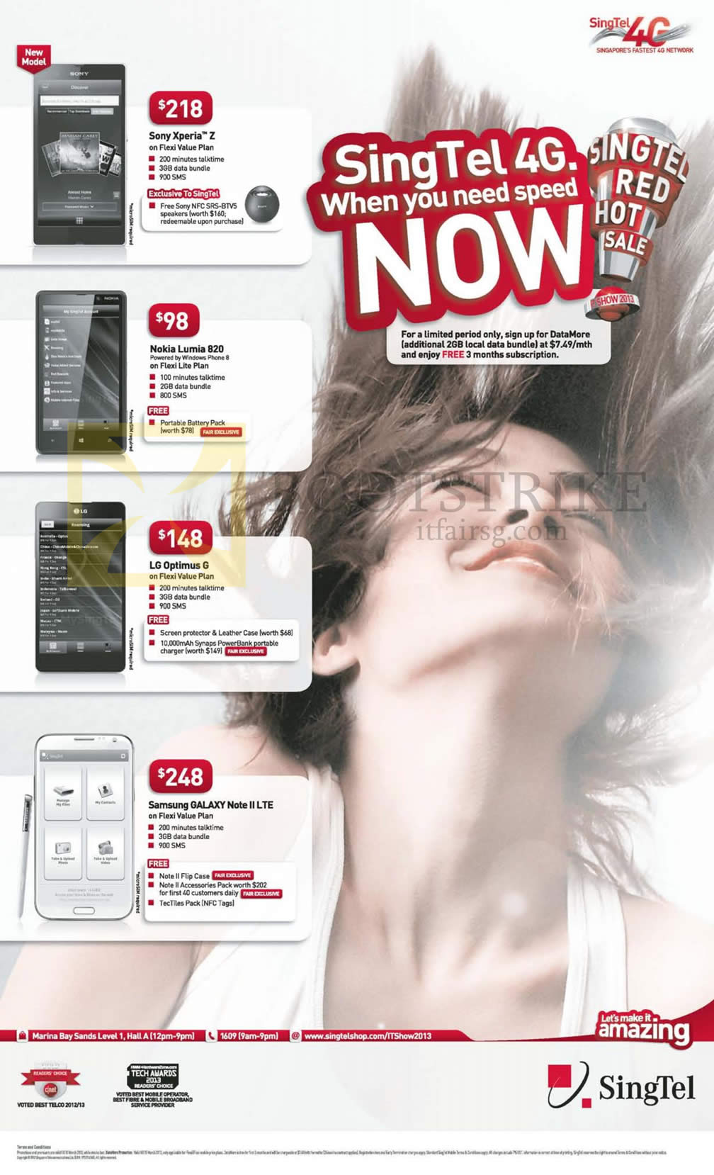 IT SHOW 2013 price list image brochure of Singtel Mobile Phones Sony Xperia Z, Nokia Lumia 820, LG Optimus G, Samsung Galaxy Note II LTE