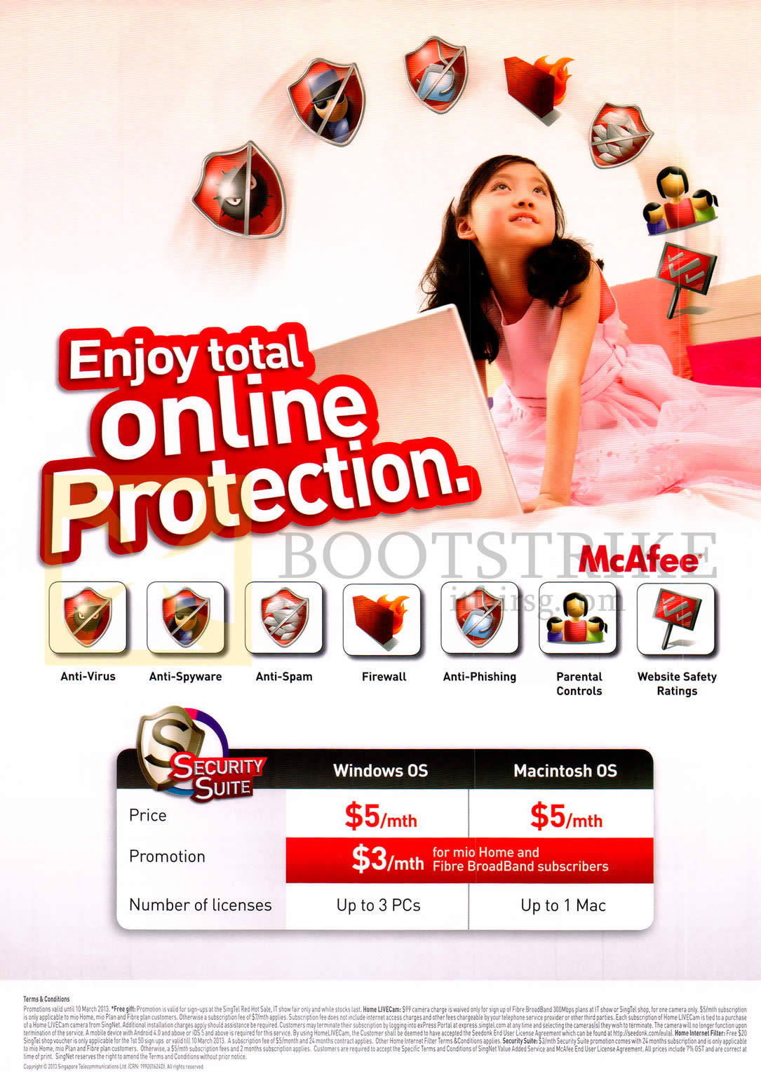 IT SHOW 2013 price list image brochure of Singtel Security Suite Anti-Virus, Anti-Spyware, Anti-Spam, Firewall