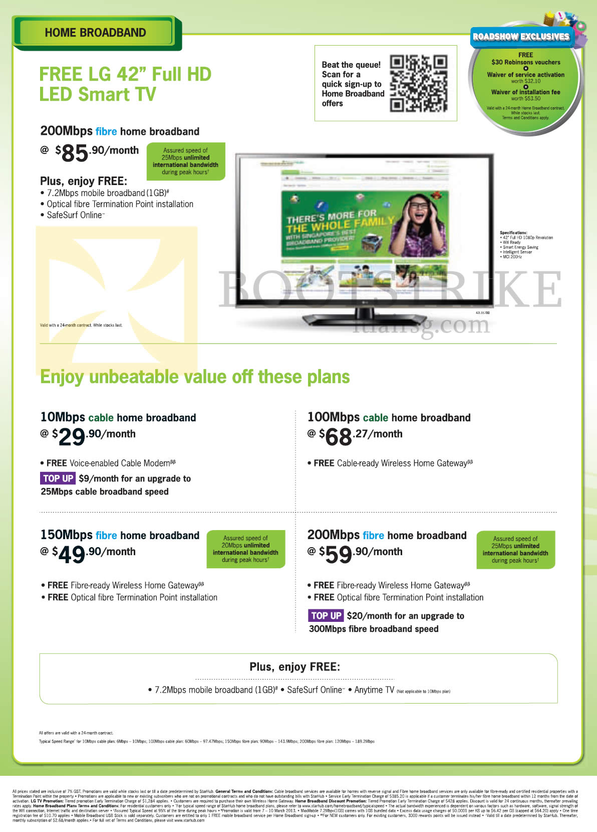 IT SHOW 2013 price list image brochure of Starhub Broadband Fibre 200Mbps Free LG 42 Full HD LED Smart TV, 100Mbps Cable, 10Mbps, 150Mbps Fibre, 200Mbps Fibre