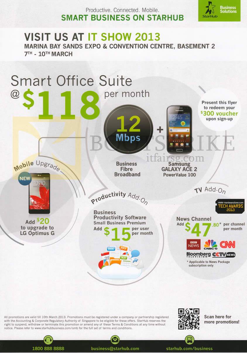 IT SHOW 2013 price list image brochure of Starhub Business Roadshow Specials Smart Office Suite, Voucher, Productivity Add On, TV Add On