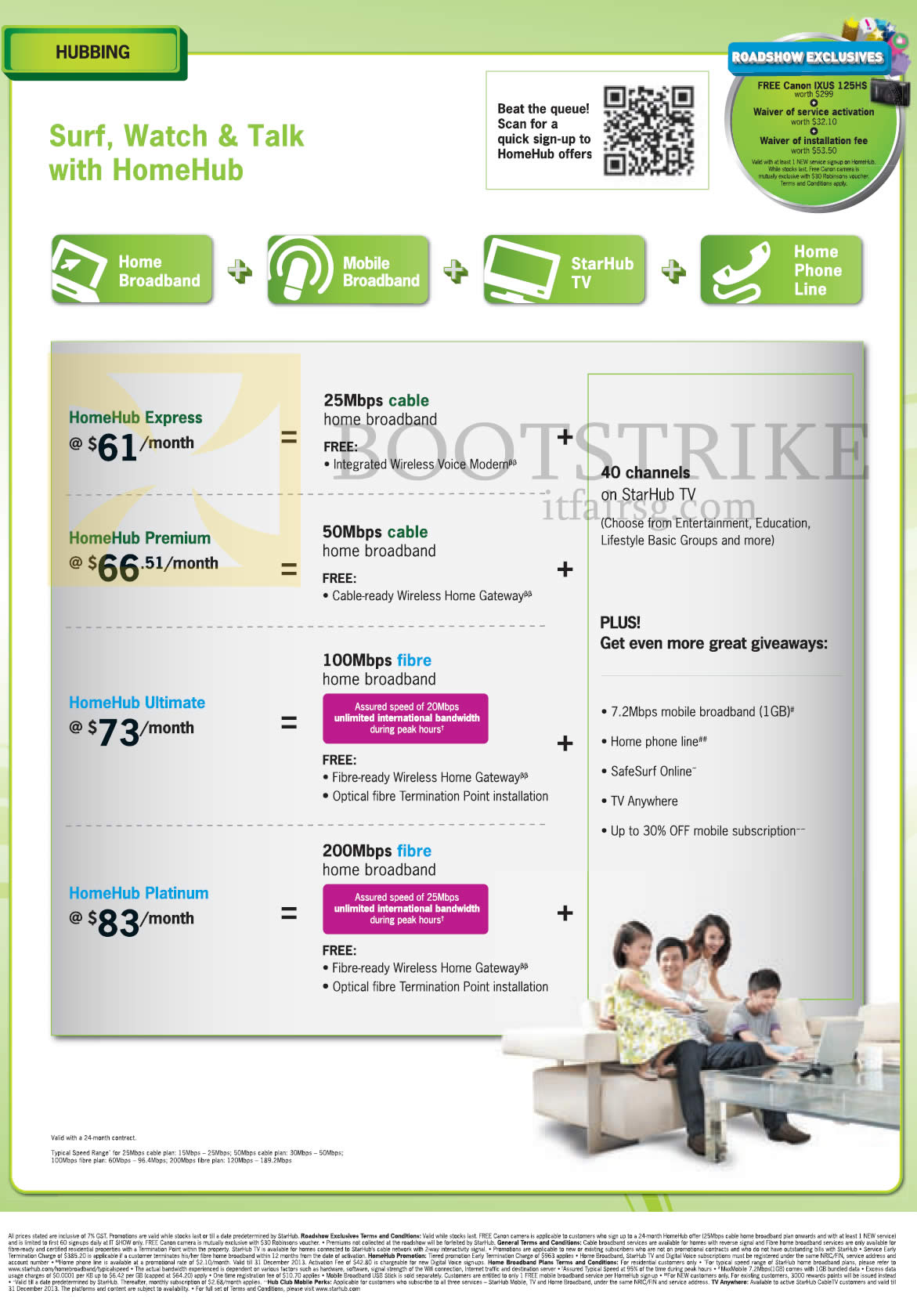 IT SHOW 2013 price list image brochure of Starhub Hubbing HomeHub Express, Premium, Ultimate, Platinum
