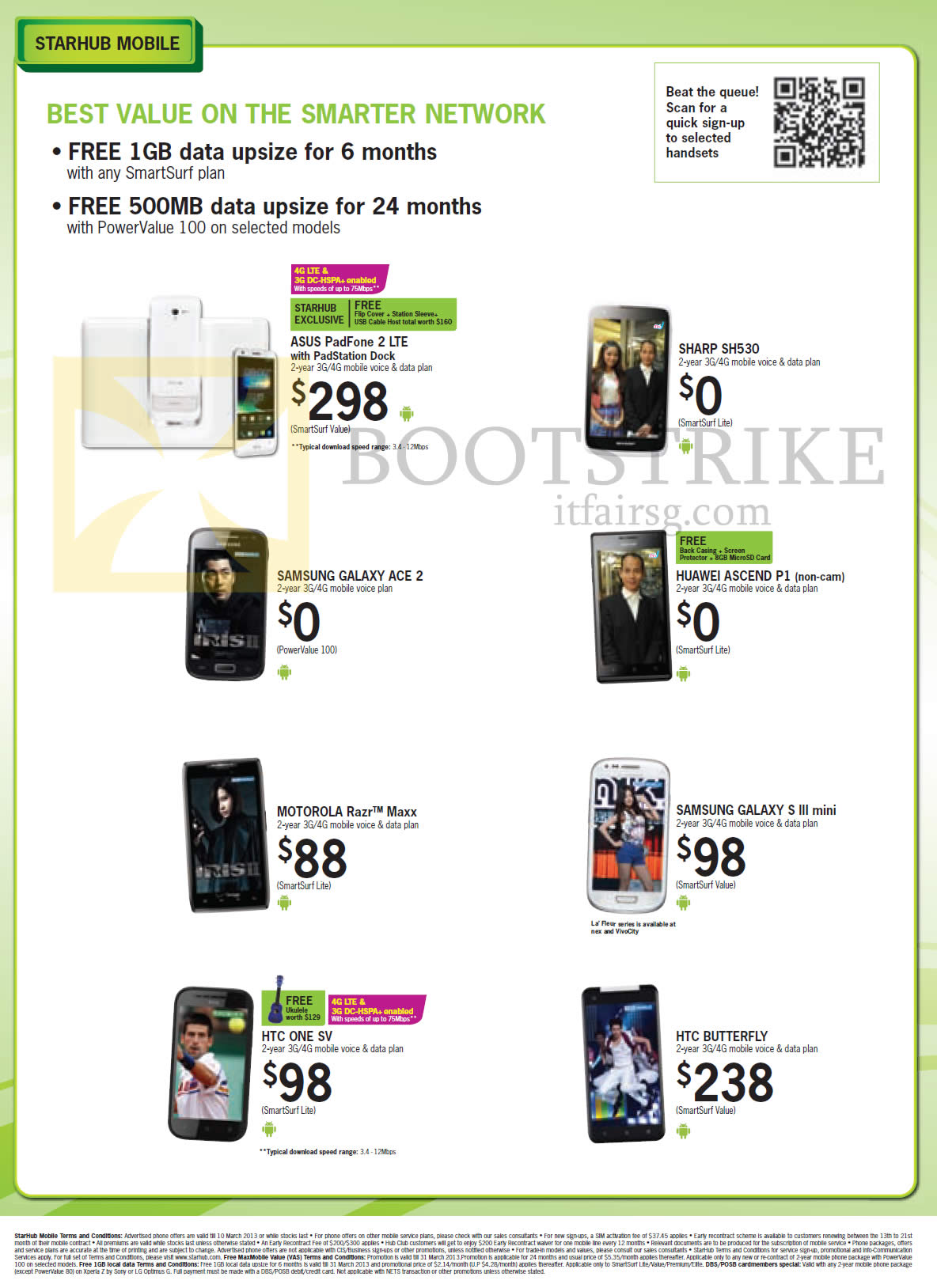 IT SHOW 2013 price list image brochure of Starhub Mobile Phones ASUS PadFone 2 LTE, Sharp SH530, Samsung Galaxy Ace 2, Huawei Ascend P1, Motorola Razr Maxx, Samsung Galaxy S III Mini, HTC One SV, Butterfly