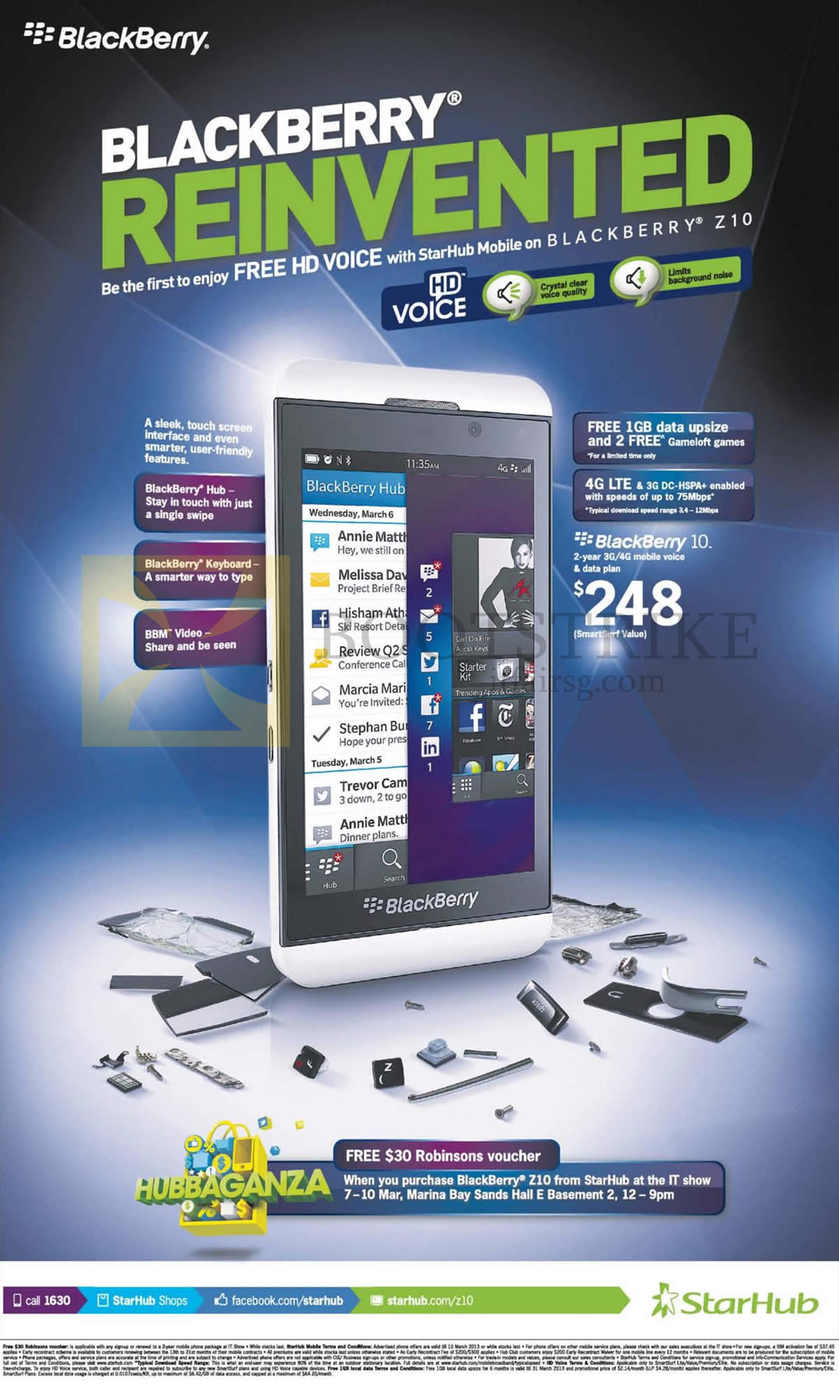 IT SHOW 2013 price list image brochure of Starhub Mobile Phones Blackberry Z10, Free Robinsons Voucher