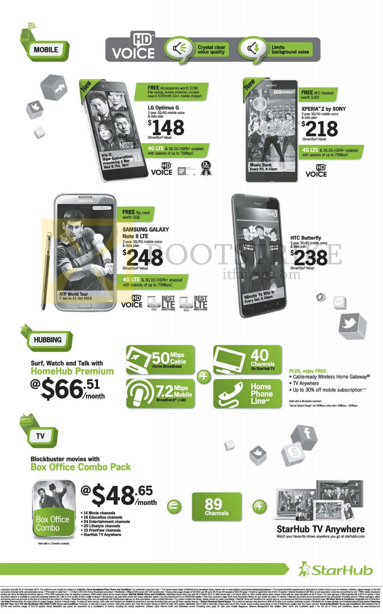 IT SHOW 2013 price list image brochure of Starhub Mobile Phones HD Voice LG Optimus G, Sony Xperia Z, Samsung Galaxy Note II LTE, HTC Butterfly, Cable TV Box Office Combo Pack