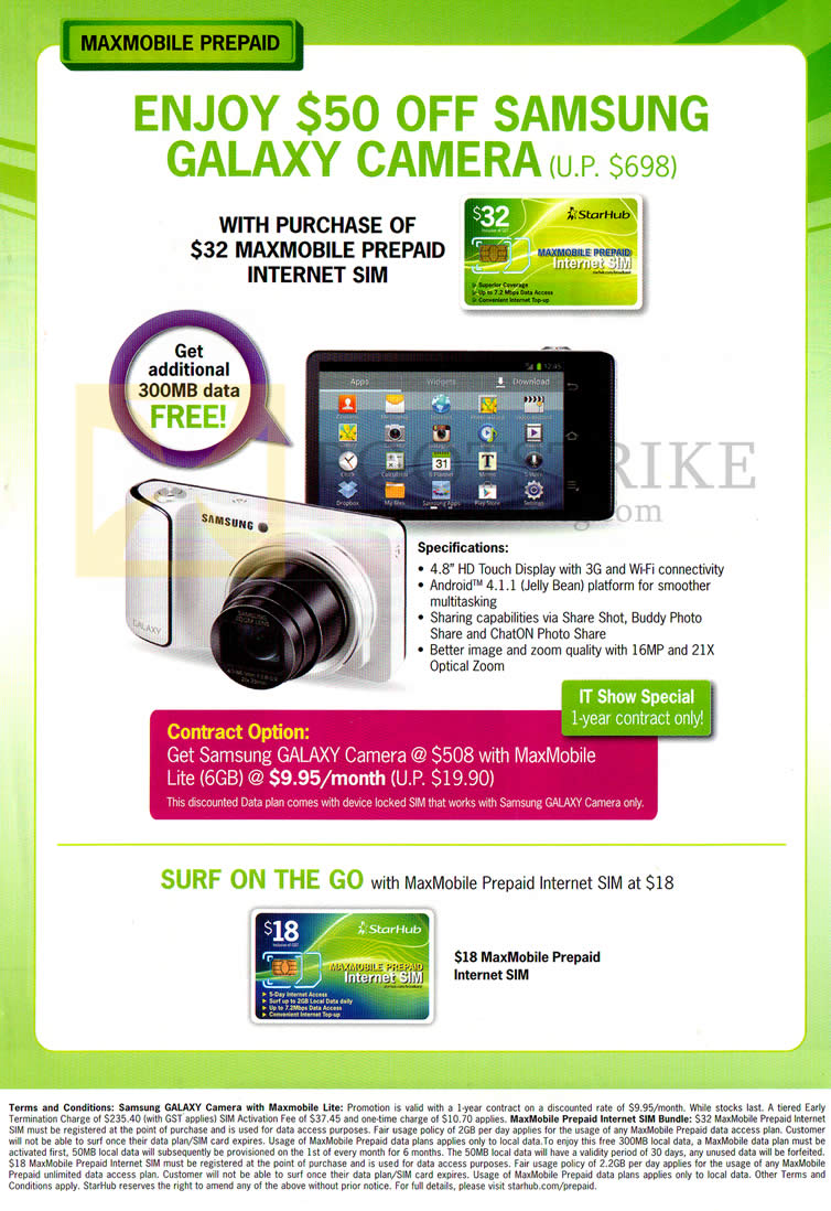 IT SHOW 2013 price list image brochure of Starhub Prepaid Broadband Mobile Galaxy Camera, Surf On The Go