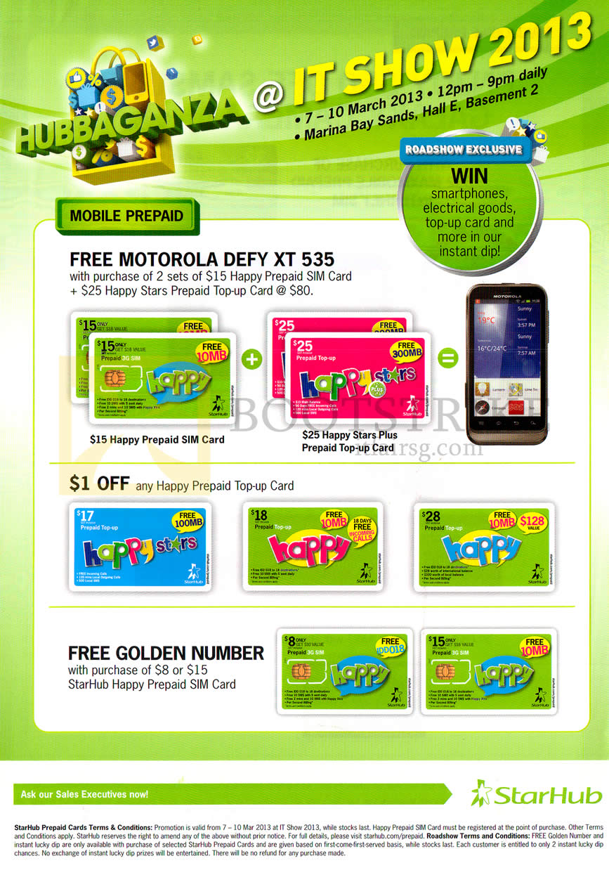 IT SHOW 2013 price list image brochure of Starhub Prepaid Mobile Motorola Defy XT 535, Happy Top-Up Card, Free Golden Number