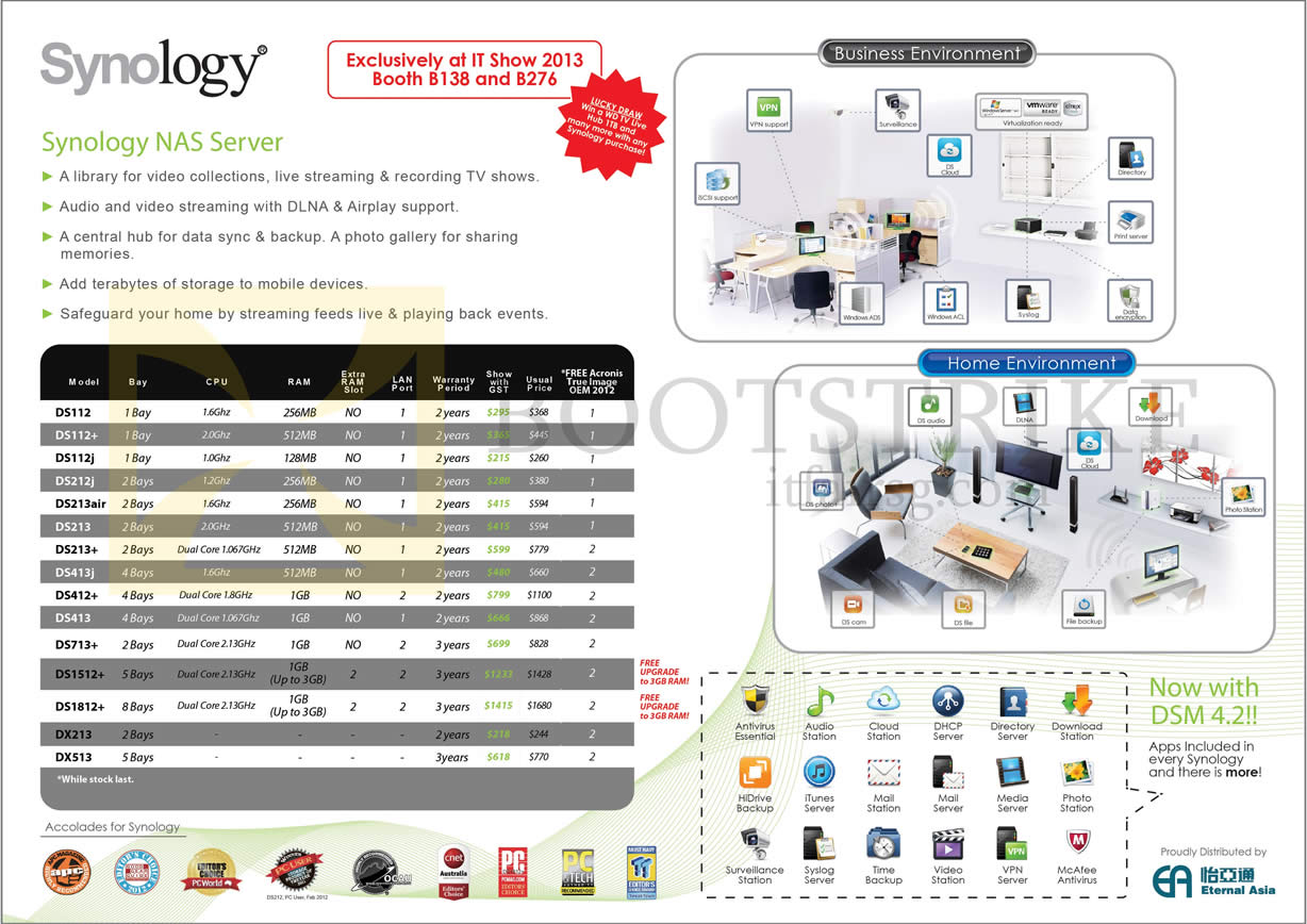 IT SHOW 2013 price list image brochure of Synology NAS Server DS112, DS112j, DS213air , DS213 Plus, DS412, DS713, DS1512, DS1812, DX213, DX513