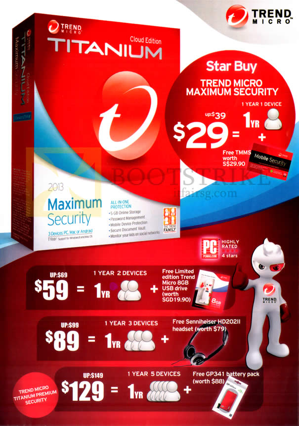 IT SHOW 2013 price list image brochure of Trend Micro Maximum Security 2013. Android, Windows, Mac