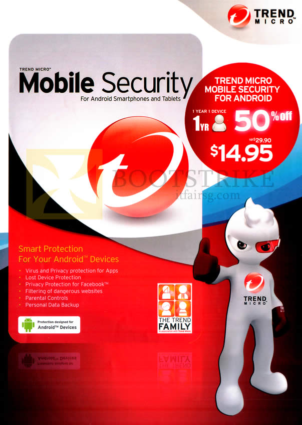 IT SHOW 2013 price list image brochure of Trend Micro Mobile Security Android Smartphones, Tablets