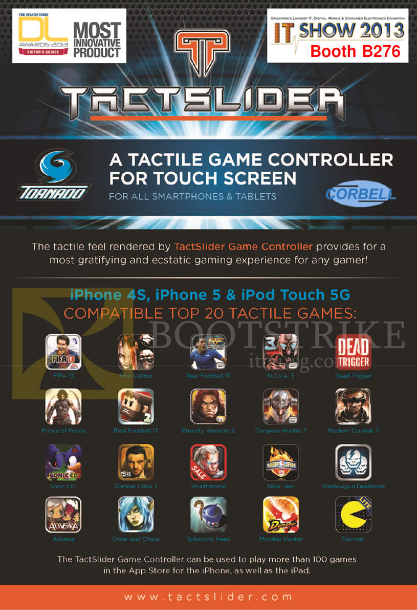 IT SHOW 2013 price list image brochure of Video-Pro Corbell Tactslider Tactile Game Controller