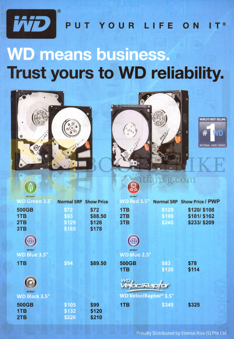 IT SHOW 2013 price list image brochure of Western Digital Eternal Asia Internal HDD Green, Red, Blue, Black, VelociRaptor