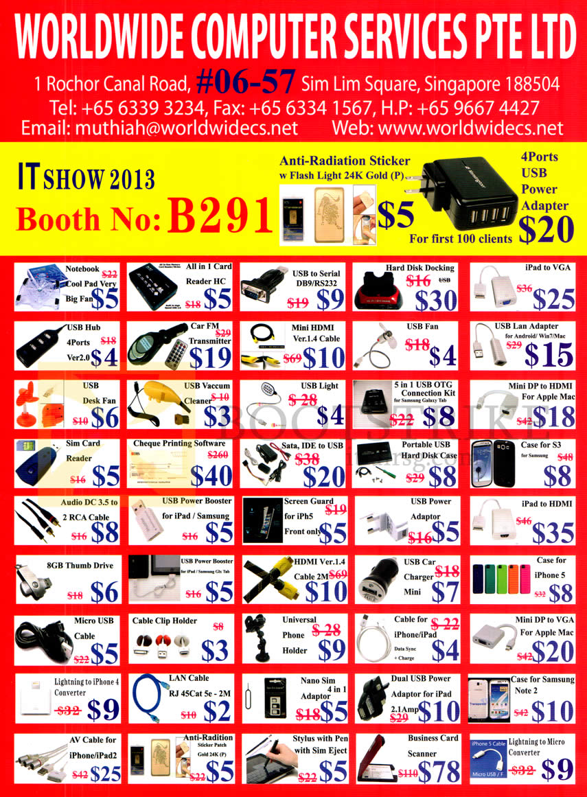 IT SHOW 2013 price list image brochure of Worldwide Computer Accessories Notebook Cooling Pad, USB LAN Adapter, Portable Charger, Screen Protector, Flash Drive, SIM Card Reader, Vacuum Cleaner, HDMI, Case