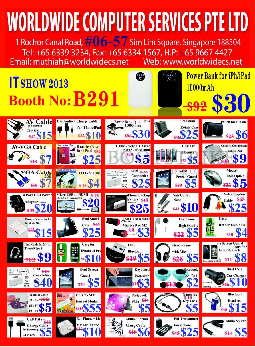 IT SHOW 2013 price list image brochure of Worldwide Computer Accessories Portable Charger, IPad Case, IPhone Case, Cable, Sim Cutter, Battery, Card Reader, Keyboard Protector, Earphones, Lightning Cable