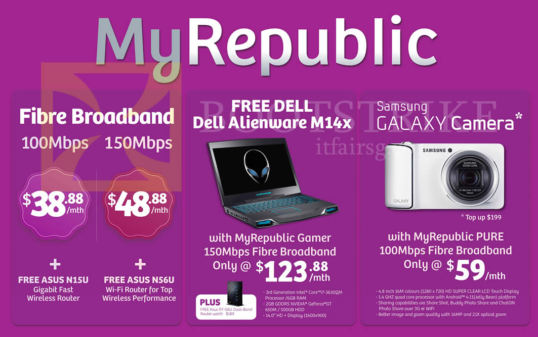 IT SHOW 2013 price list image brochure of IKnow MyRepublic Fibre Broadband 100Mbps, 150Mbps, Free Dell Alienware M14x Notebook, Samsung Galaxy Camera, Pure