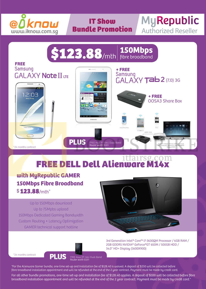 IT SHOW 2013 price list image brochure of IKnow MyRepublic Fibre Broadband 150Mbps, Samsung Galaxy Note II LTE, Galaxy Tab 2 7.0, Gamer 150Mbps Free Dell Alienware M14x