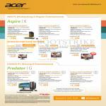 Acer Desktop PCs, Monitors, Aspire X XC600 I347MR45, I347MR81T, I37MR82T, H226HQL, T232HL, G276HL, Predator Gaming PCs G3620 I347MR81T, I37MR81T, I37MR162T