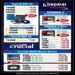 Kingston HyperX SSD 5K, 3K, SSDNow V, SSDNow V Plus, Crucial M4 SSD, MSATA