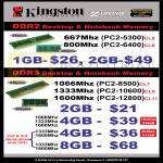 Kingston RAM DDR2 Memory, DDR3