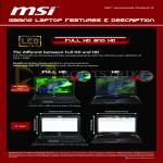 MSI Notebooks Gaming Laptop Features Full HD And HD