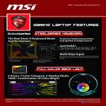 MSI Notebooks Gaming Laptop Features Steelseries Keyboard, Full Color Back Light