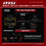 MSI Notebooks Gaming Laptop Features THX Tru Studio Pro, Dynaudio