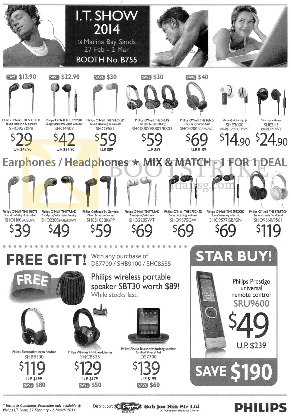 IT SHOW 2014 price list image brochure of A.D. Industries Philips Earphones, Headphones, O Neill Specked, Covert, Snug, Bend, She3000, Shots, Treat, St Germain, Stretch