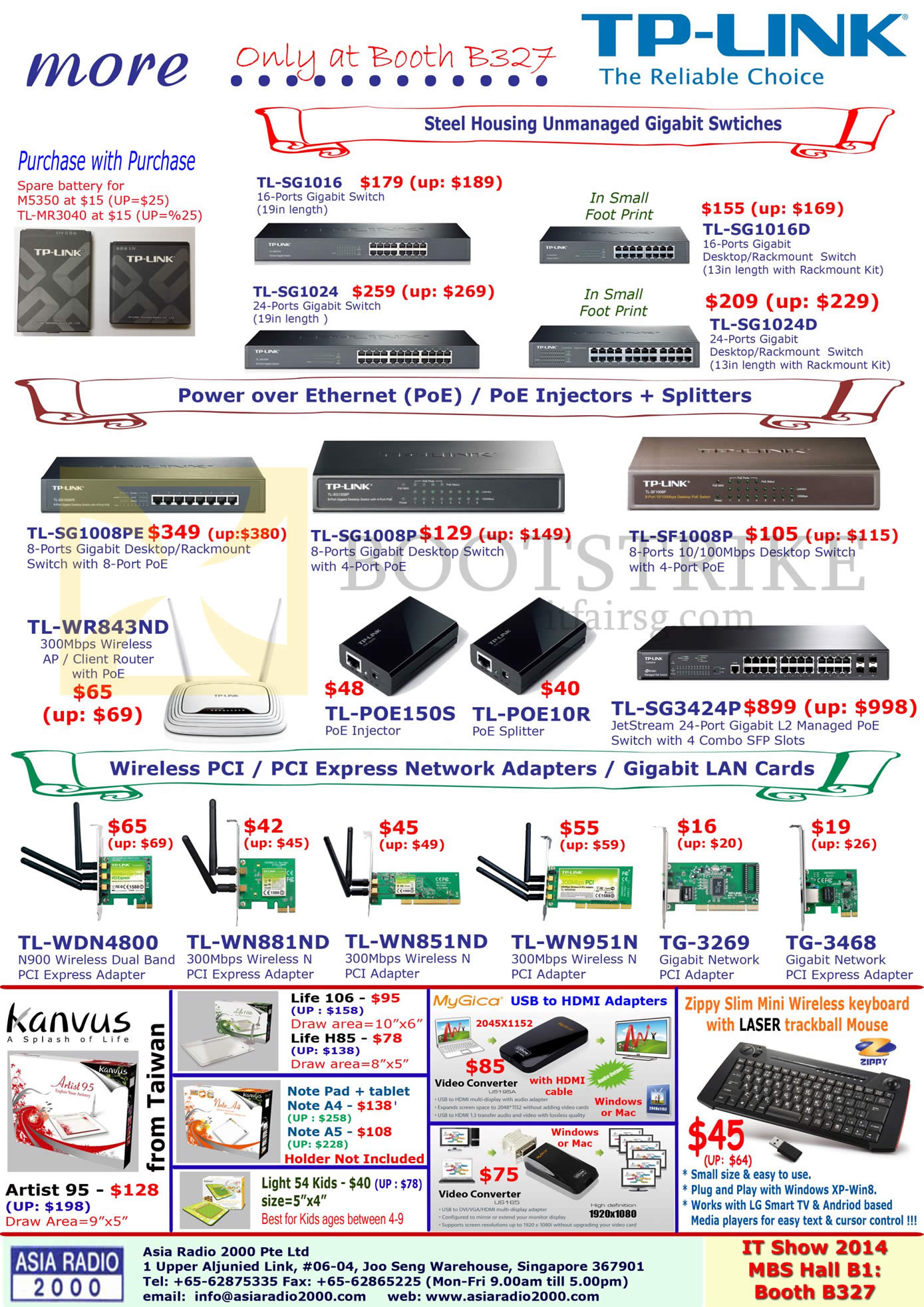 IT SHOW 2014 price list image brochure of Asia Radio TP-Link Networking Gigabit Switches, Wireless Routers, PCI Express Adapters, Kanvus, Life, Note Pad, MyGica USB HDMI, Zippy Keyboard
