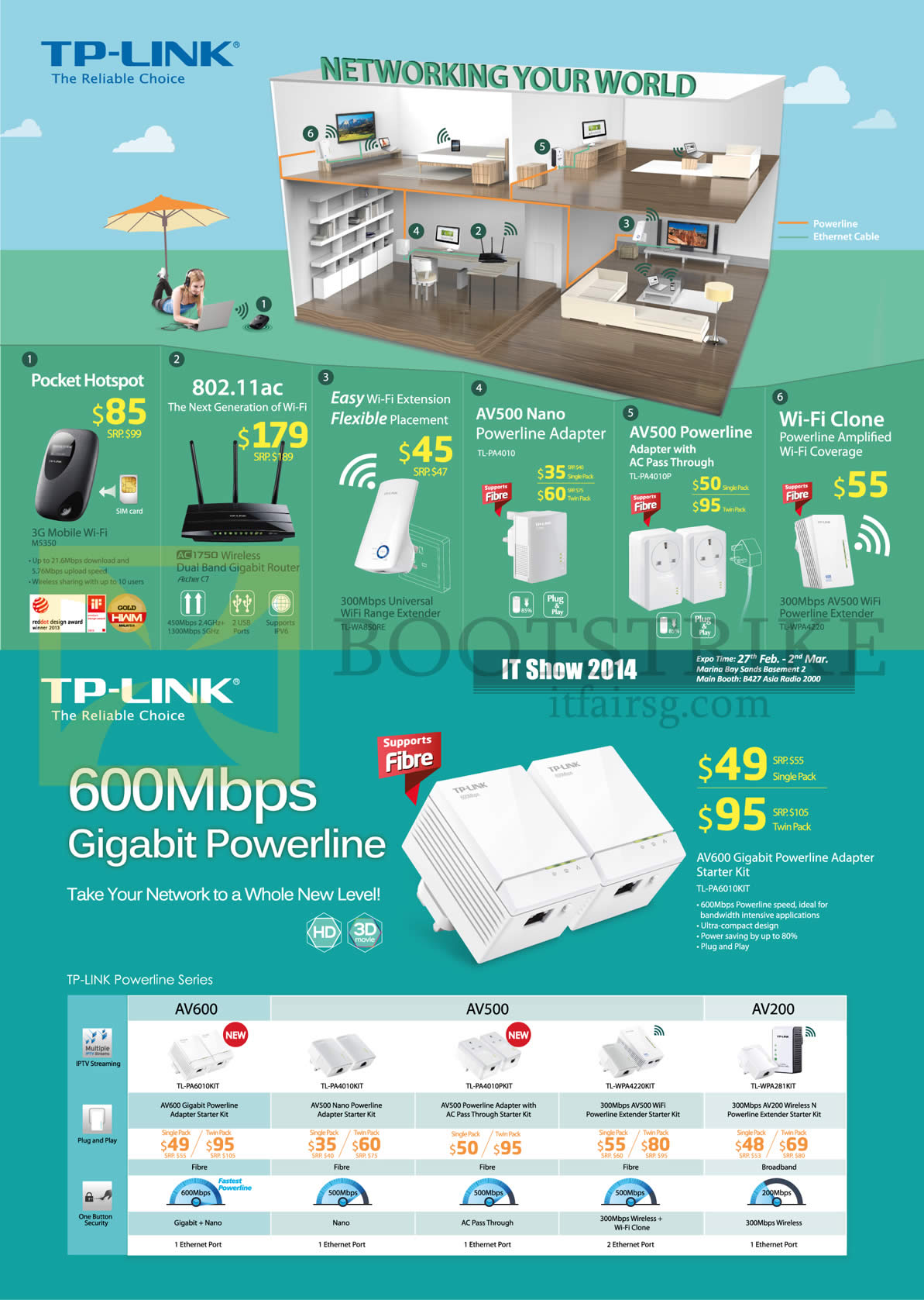 IT SHOW 2014 price list image brochure of Asia Radio TP-Link Networking Pocket Hotspot, AC Router, Range Extender, Powerline Gigabit AV600 AV500 AV200