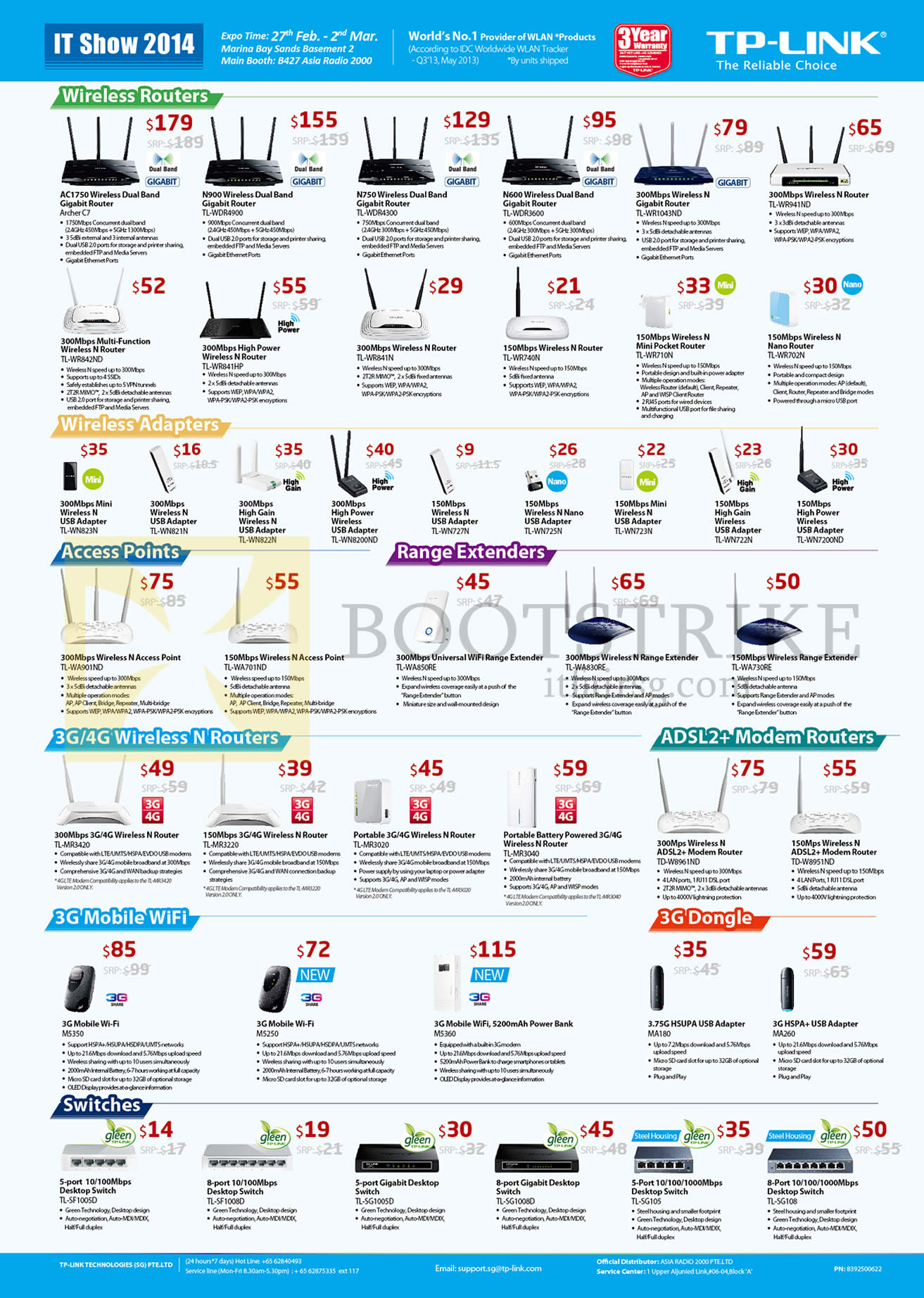IT SHOW 2014 price list image brochure of Asia Radio TP-Link Networking Wireless Routers, Adapters USB, Access Points, Extenders, ADSL2, 3G Mobile Wifi, Switches, 3G Dongle