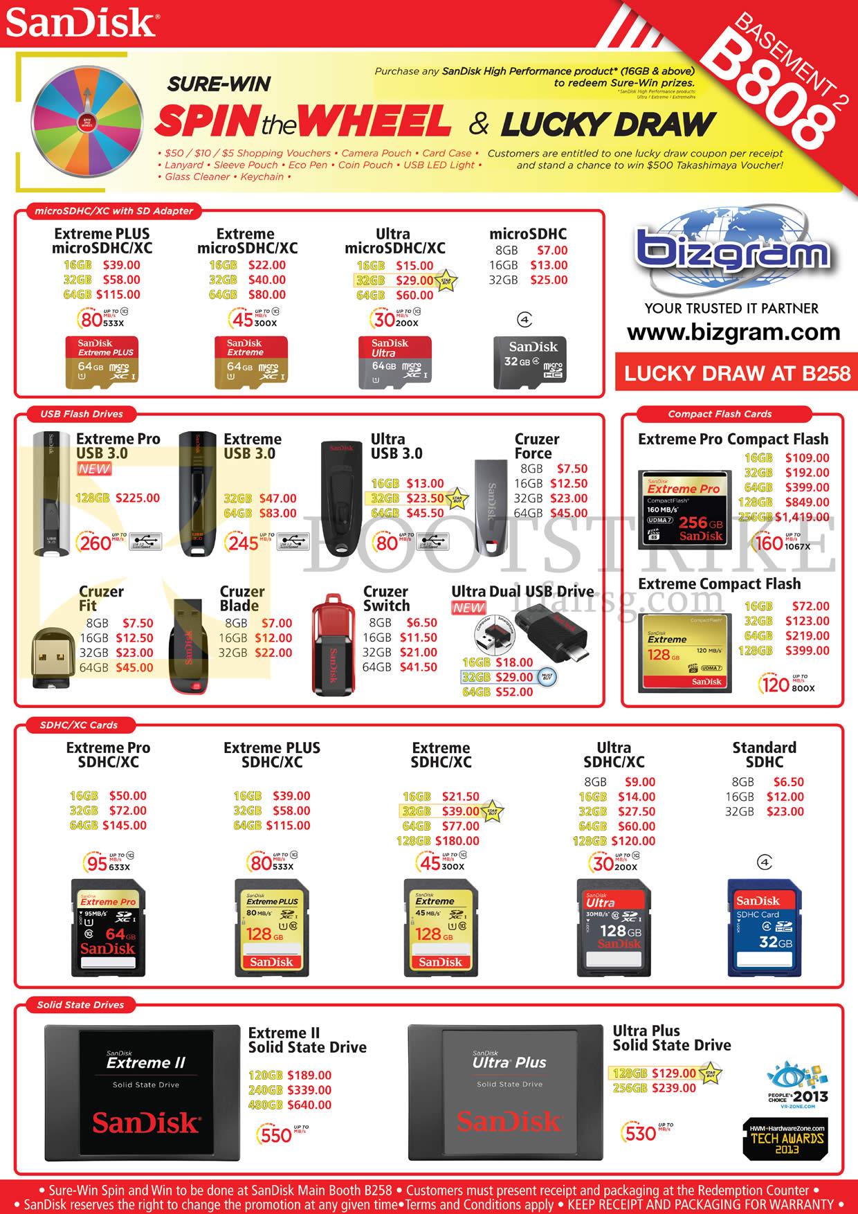 Bizgram Memory Cards, USB Flash Drives, Sandisk Extreme Plus