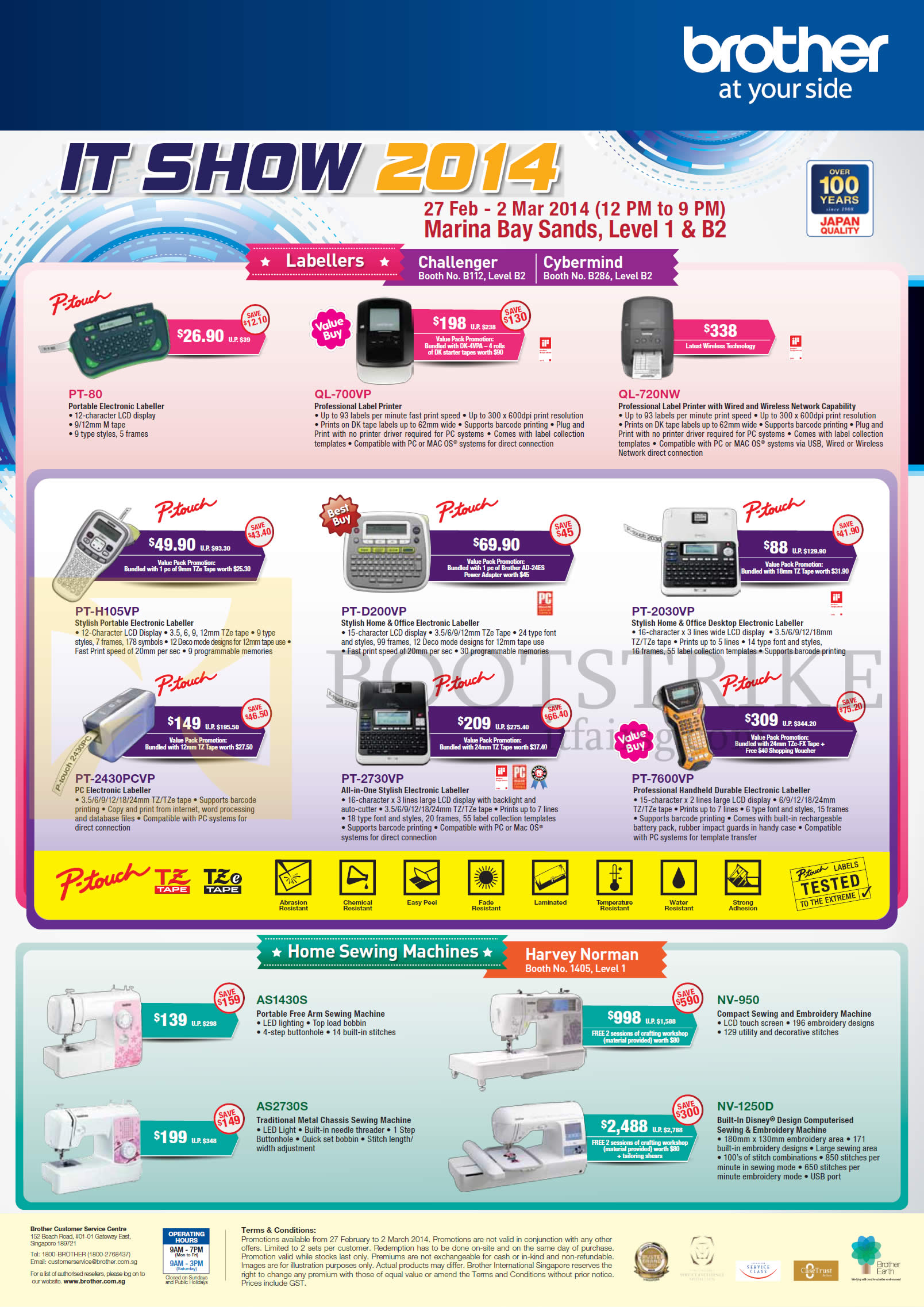 IT SHOW 2014 price list image brochure of Brother Labellers P-Touch, Sewing Machines, PT-80, QL-700VP 720Nw, PT-H105VP D200VP 2030VP 7600VP 2730P 2430CVP AS1430S AS2730S, NV-950 1250D