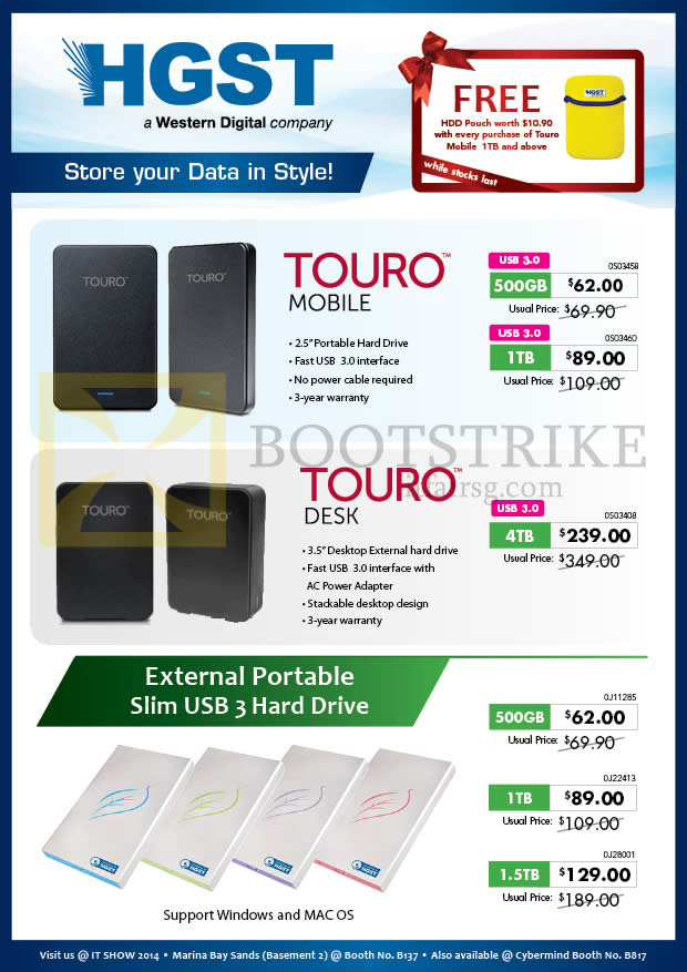 IT SHOW 2014 price list image brochure of Convergent HGST External Storage Drives Touro Mobile, Desk 500GB 1TB 1.5TB 2TB