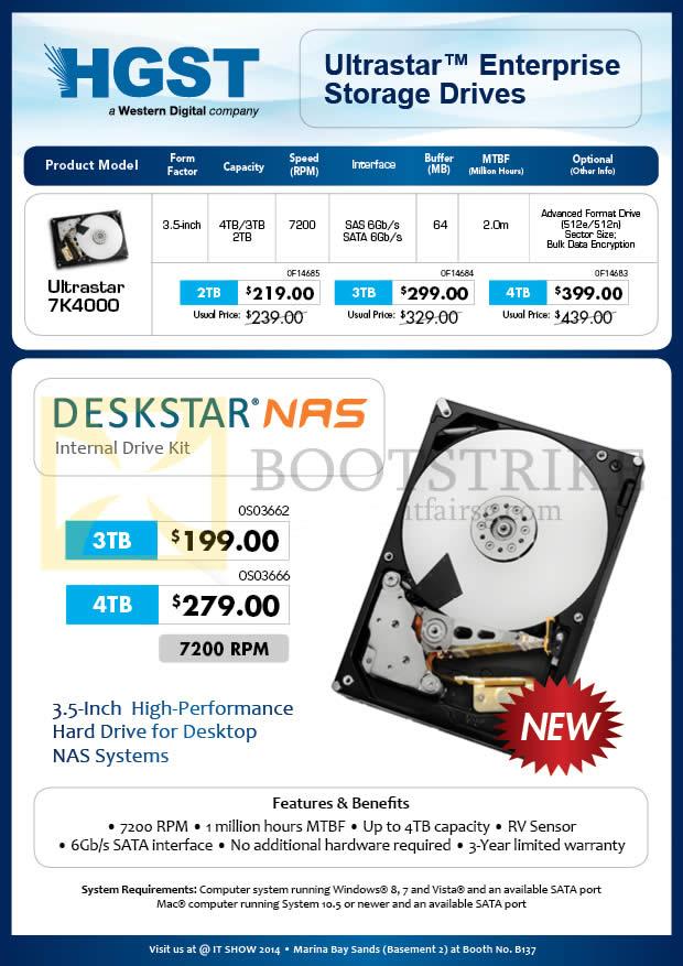 IT SHOW 2014 price list image brochure of Convergent HGST Internal HDD Ultrastar 7K4000, Deskstar NAS 2TB 3TB 4TB