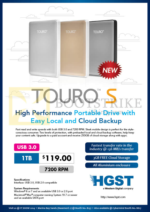 IT SHOW 2014 price list image brochure of Convergent HGST Touro S External Storage Drive 1TB