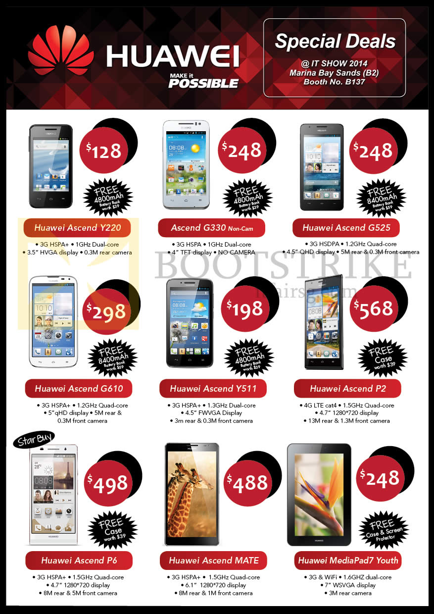 IT SHOW 2014 price list image brochure of Convergent Huawei Mobile Phones Ascend Y220, G525, G610, Y511, P2, P6, Mate, G330, MediaPad 7 Youth