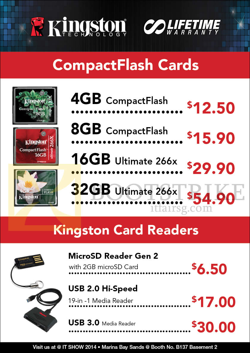 IT SHOW 2014 price list image brochure of Convergent Kingston CF Compact Flash Memory Cards, Card Readers MicroSD