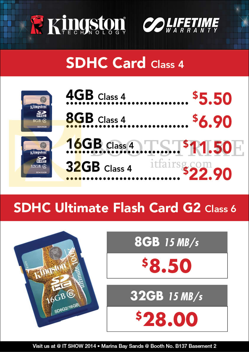 IT SHOW 2014 price list image brochure of Convergent Kingston Flash Memory SDHC Card Class 4, Ultimate Flash Card G2 Class 6
