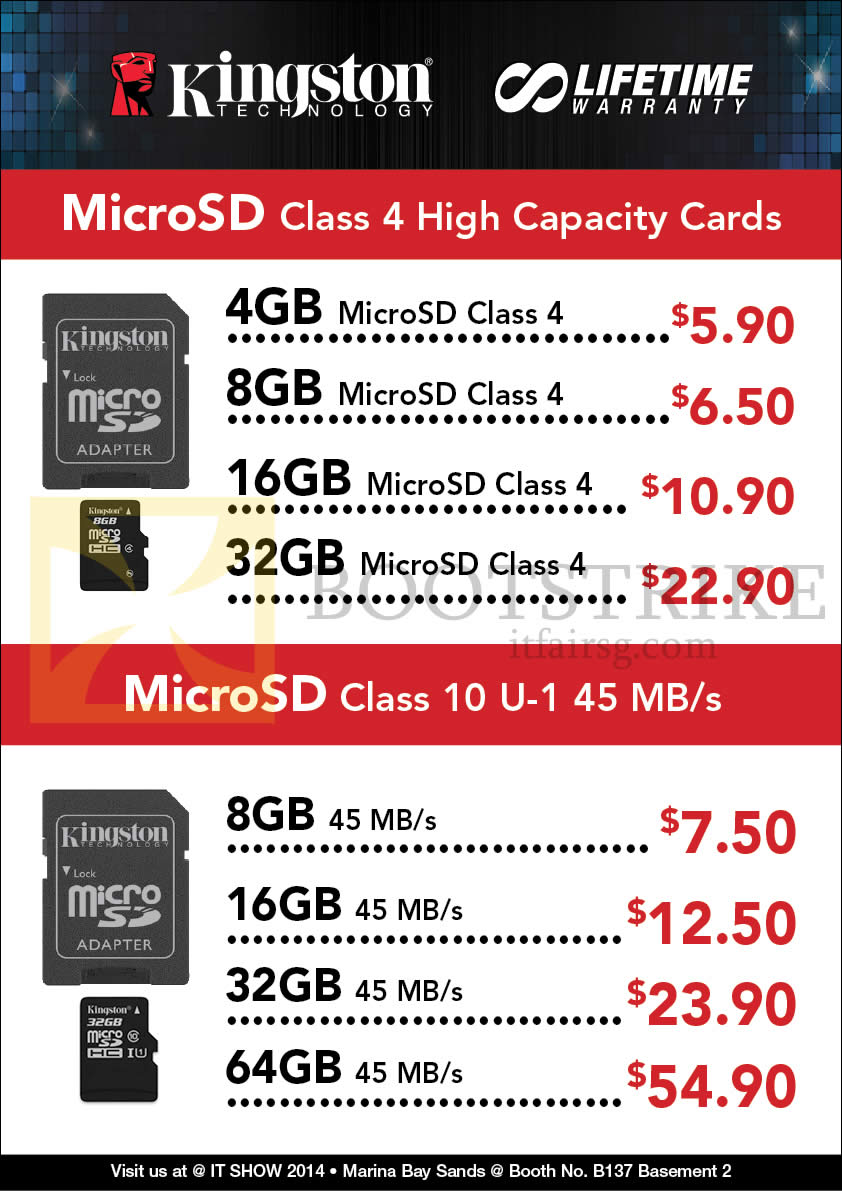 IT SHOW 2014 price list image brochure of Convergent Kingston MicroSD Class 10 U1, Class 4, Memory Cards
