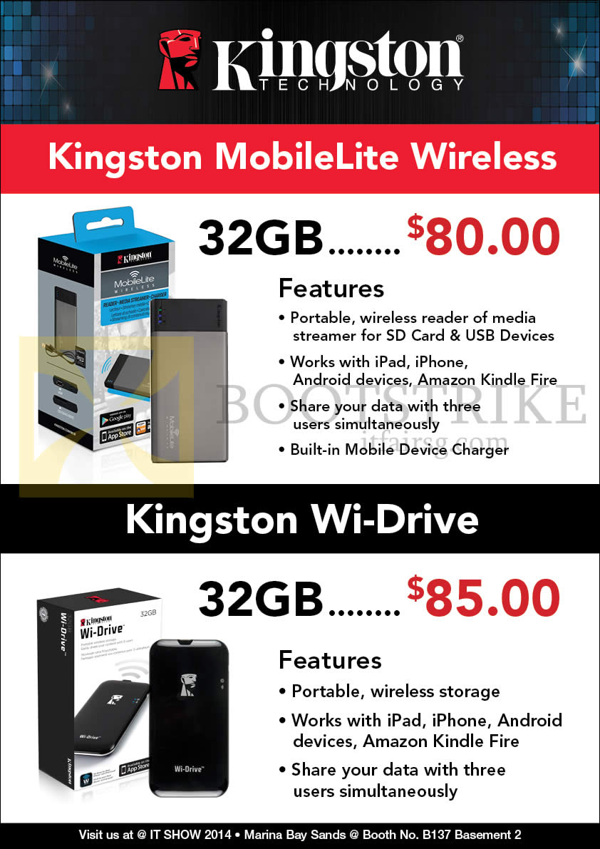 IT SHOW 2014 price list image brochure of Convergent Kingston MobileLite Wireless, Wi-Drive