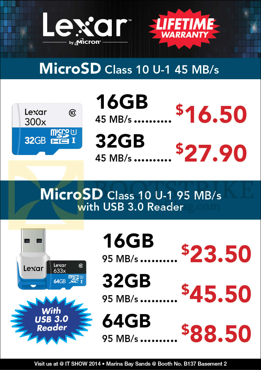IT SHOW 2014 price list image brochure of Convergent Lexar MicroSD Class 10 16GB 32GB 64GB