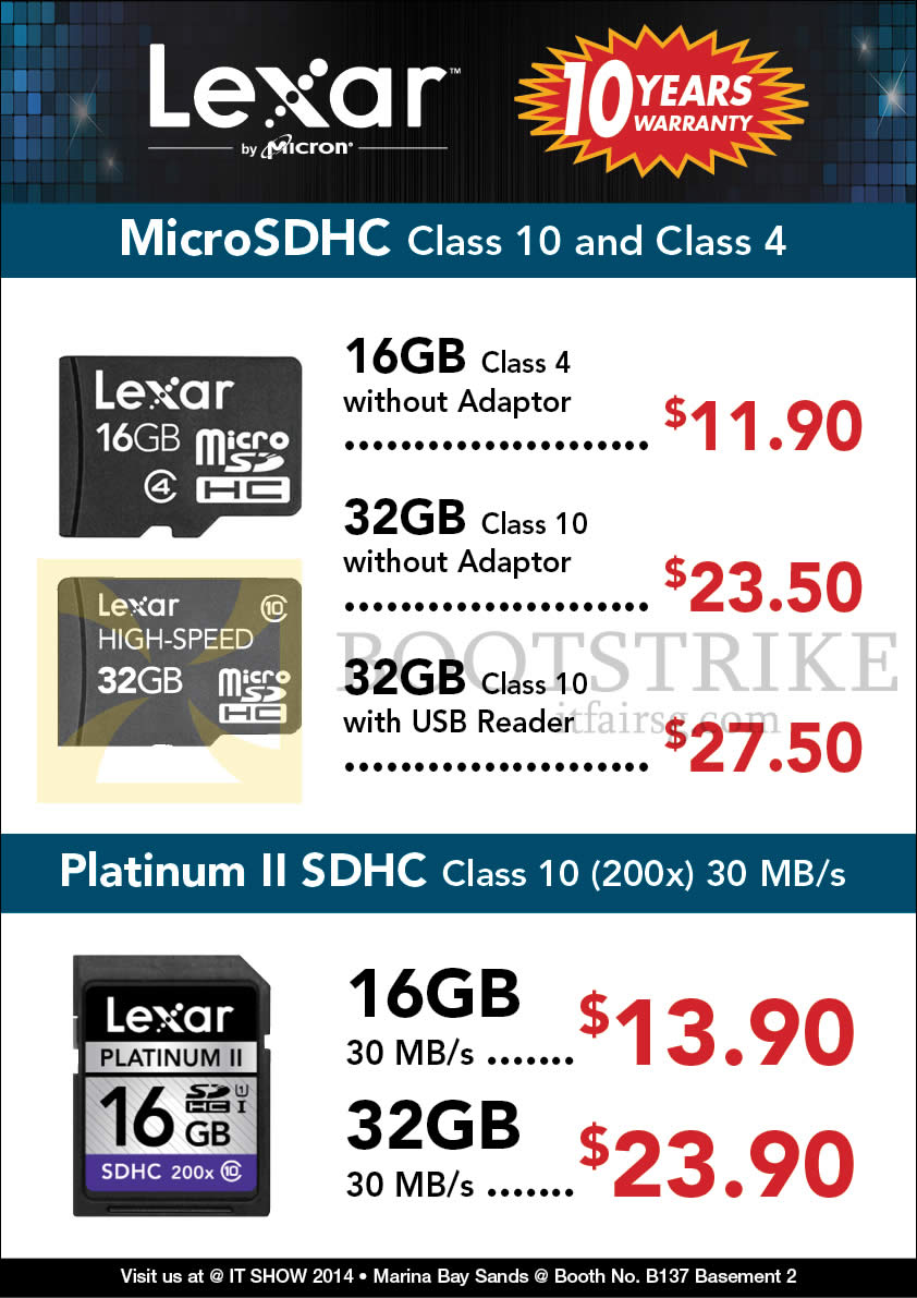 IT SHOW 2014 price list image brochure of Convergent Lexar MicroSDHC 16GB 32GB, Platinum II SDHC