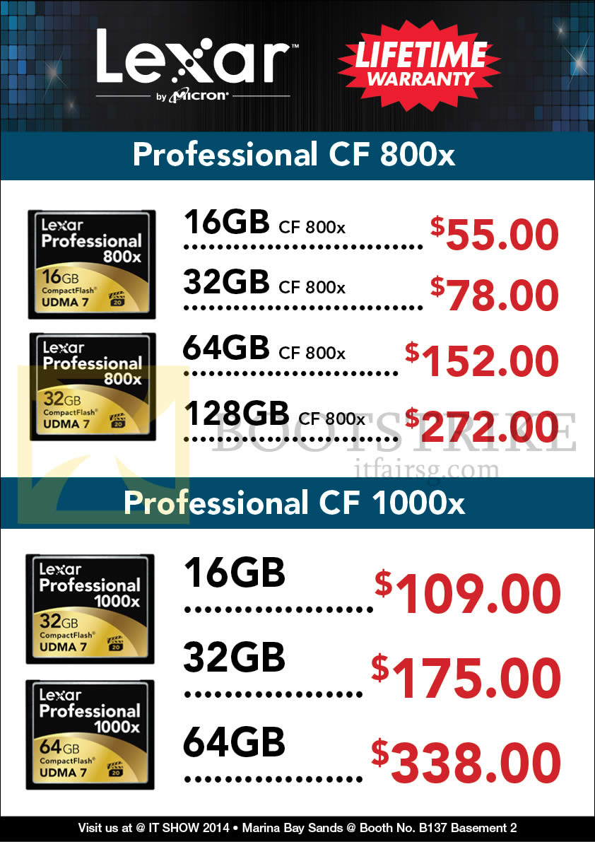 IT SHOW 2014 price list image brochure of Convergent Lexar Professional CF CompactFlash 16GB 32GB 64GB 128GB