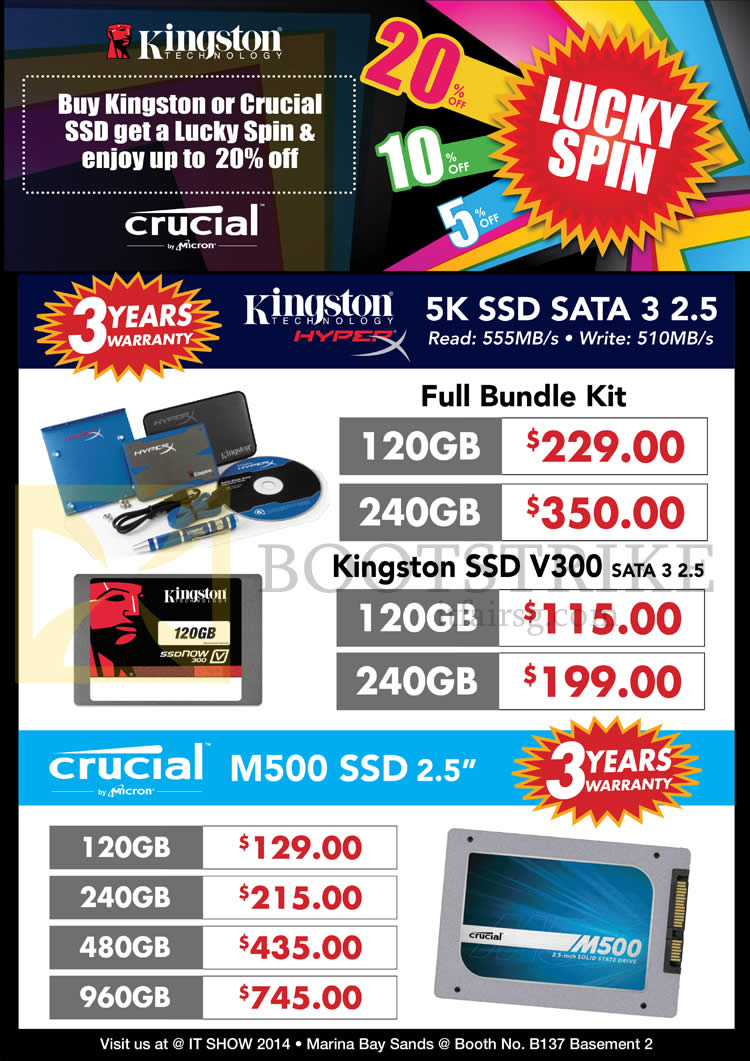 IT SHOW 2014 price list image brochure of Convergent SSD Kingston 5K Crucial M500 SSD, 120GB 240GB 480GB 960GB