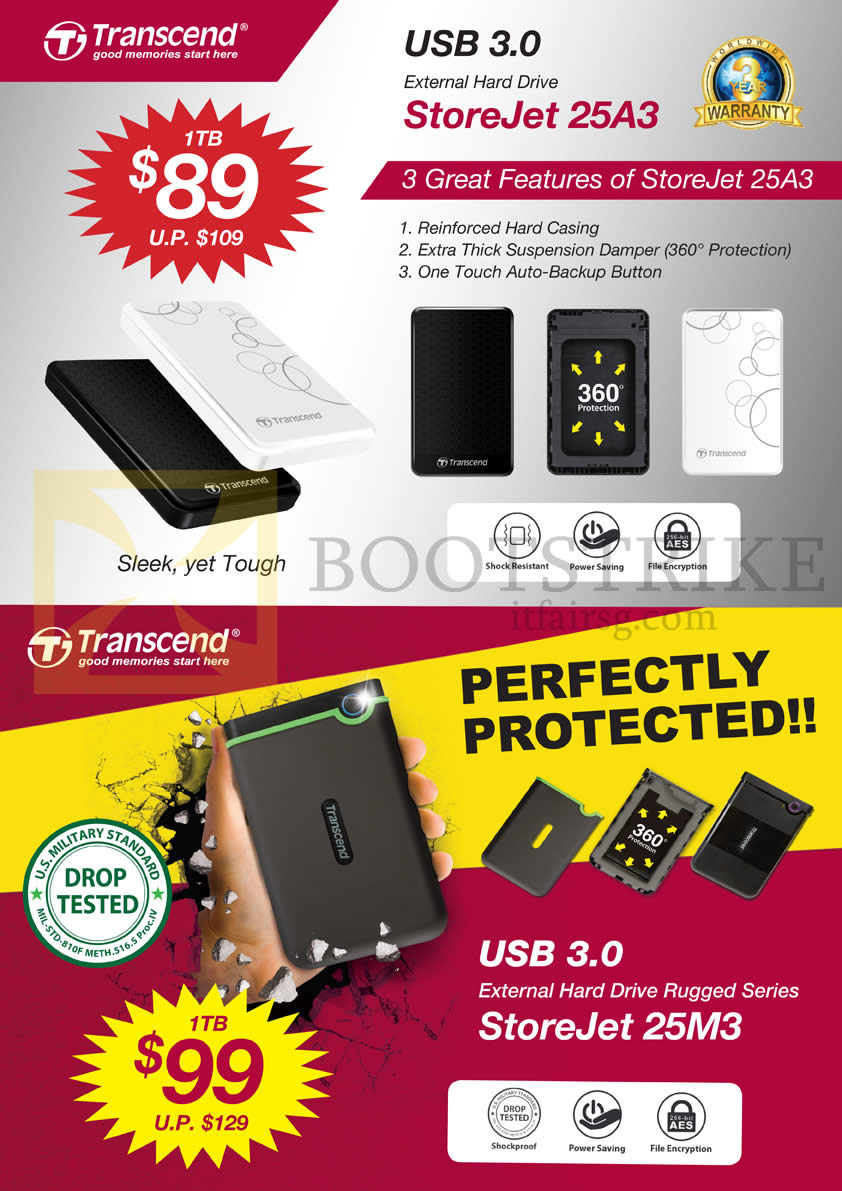 IT SHOW 2014 price list image brochure of Convergent Transcend External Storage StoreJet 25A3 1TB, 25M3