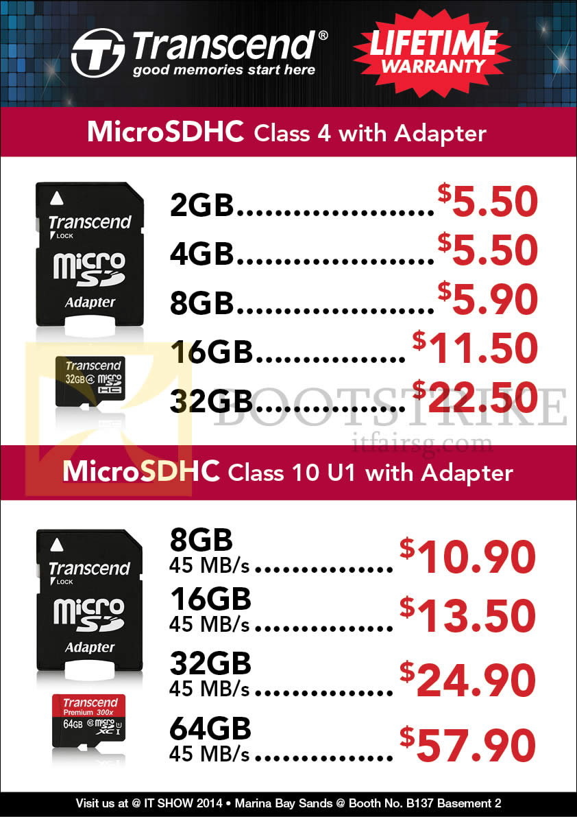 IT SHOW 2014 price list image brochure of Convergent Transcend MicroSDHC Memory Cards