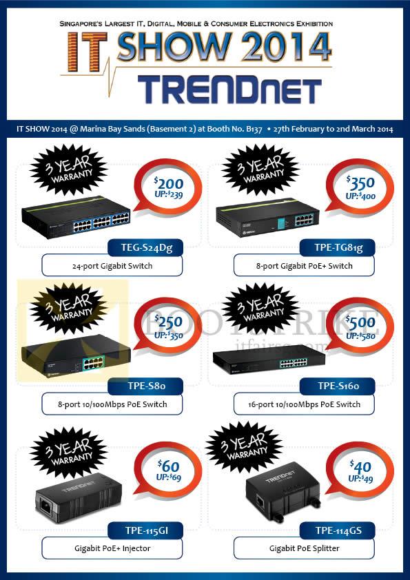 IT SHOW 2014 price list image brochure of Convergent Trendnet Networking Gigabit Switch, PoE, Injector, Splitter
