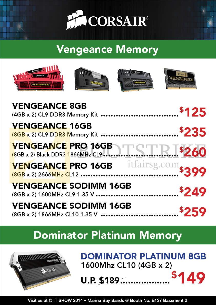 IT SHOW 2014 price list image brochure of Convergent Vengeance RAM Pro Memory DDR3, Dominator Platium